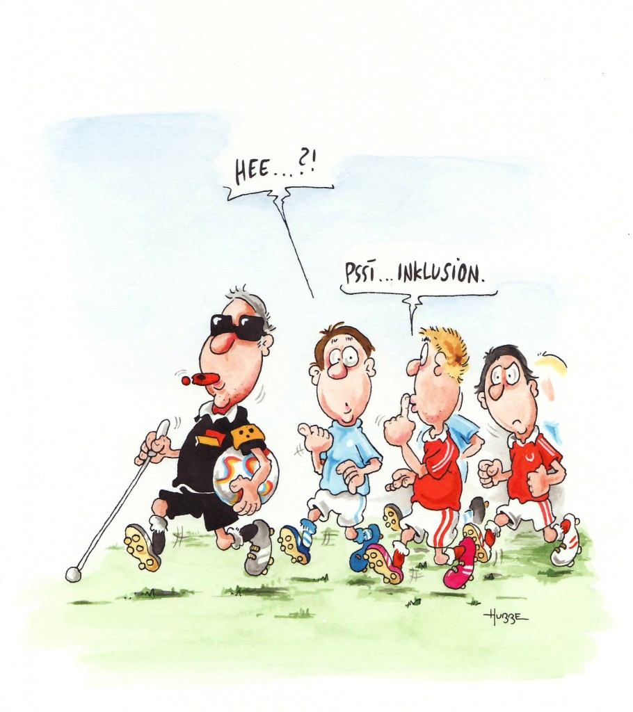 Phil Hubbe Karikatur: Blidner Schiedsrichter mit Langstock und Blindenbinde, daneben Spieler . eienr sagt